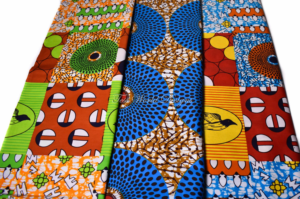 3 half yard  African fabric bundle, WB168 - Tess World Designs, LLC