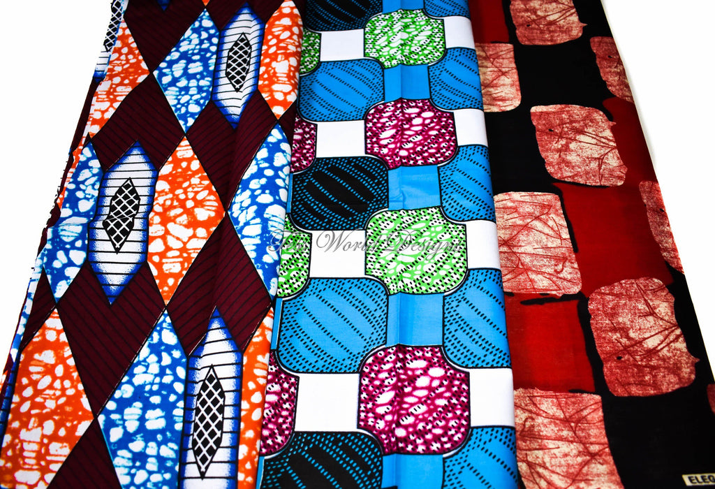 3 half yard Ankara wax bundle, WB174 - Tess World Designs, LLC