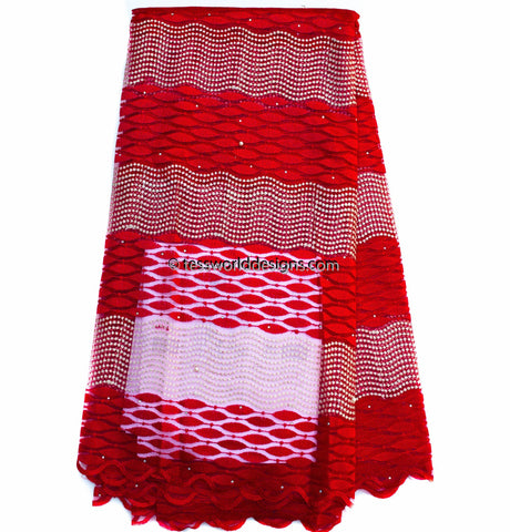 NL41 - Red Net Lace fabric,  5 yards