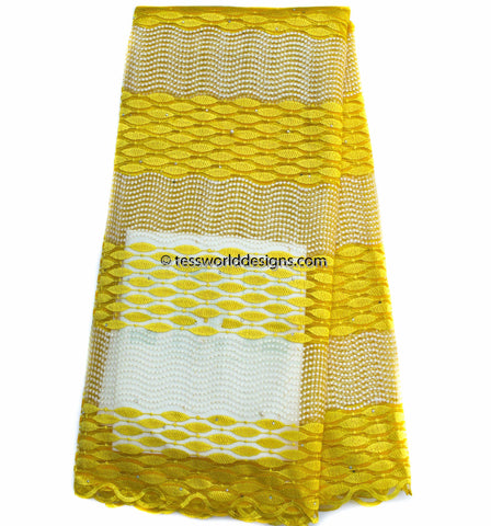 NL40 - Yellow Net Lace fabric,  5 yards