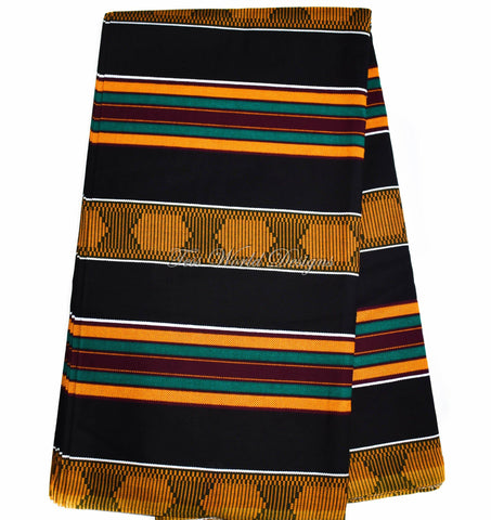 Kente fabric / Made in Africa Kente cloth/ Black stripe KF211B