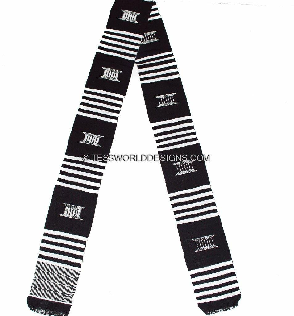 KS05 - Hand-Woven Kente Stole, Sash, black and white - Tess World Designs