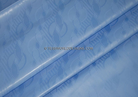 B113 - Light blue Soft Quality African Cotton Brocade Bazin 5 yards - Tess World Designs
