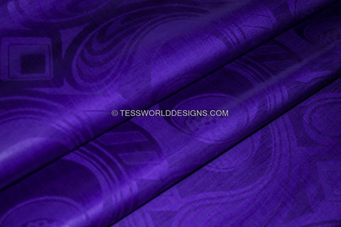 B118 - Royal Blue Soft Quality African Cotton Brocade Bazin 5 yards - Tess World Designs