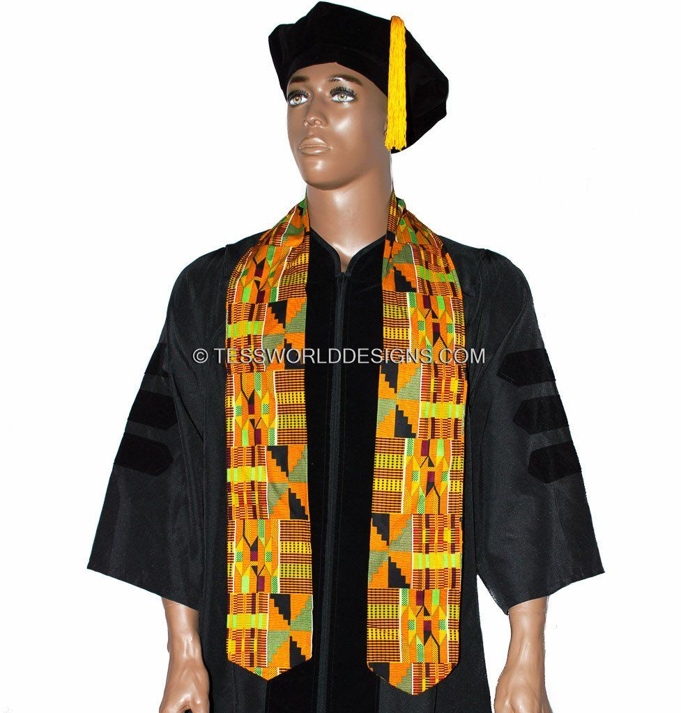 KS07 - Handmade Kente Stole, Sash, Orange - Tess World Designs