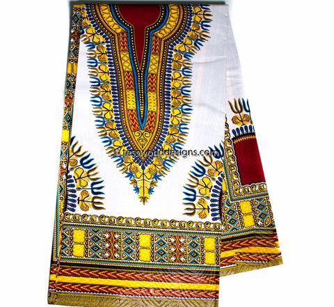 DS77-  Dashiki Fabric, White, small design, 6 yards