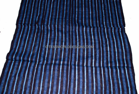 GMC01- Thinner Indigo Hand woven Mudcloth Fabric from Guinea - Tess World Designs
