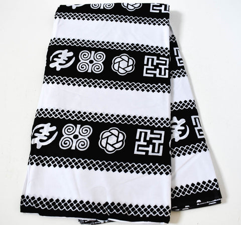 Original Ghana Fabric 6 yards/ Africa Fabric/ made in Ghana/ Black/white Ankara fabric/ Adinkra fabric/ African fabrics/ WP1204