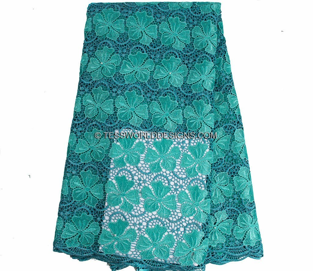 GL41 - Jade Guipure Cord Lace fabric with stones, 5 yards - Tess World Designs