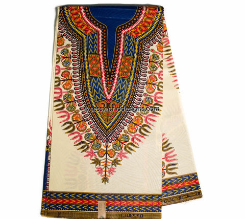 DS79 - Dashiki Fabric, cream, small design,  6 yards