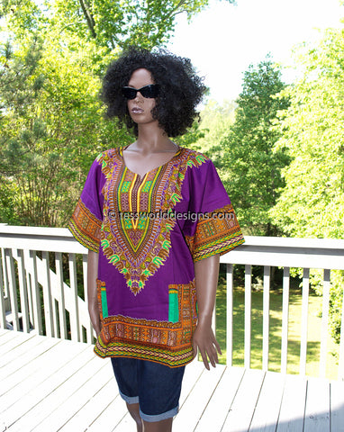 WD07 - Purple dashiki shirt