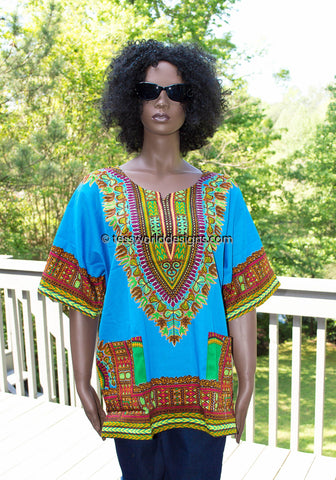 WD08 - Blue dashiki shirt