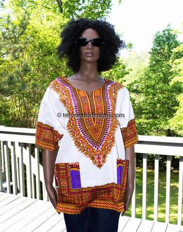 WD08 - White dashiki shirt
