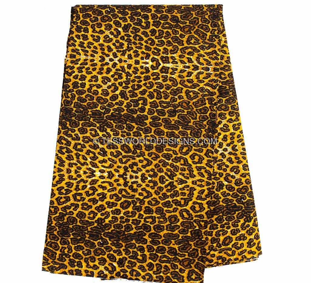 TP32 - Traditional Fabric small leopard print fabric from Africa 6 yards - Tess World Designs