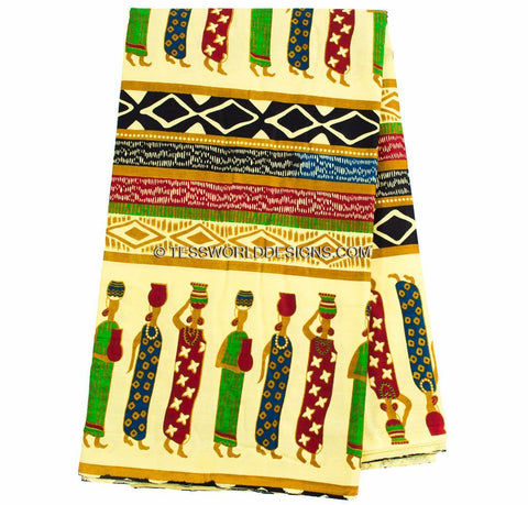 TP29 - Traditional Fabric industrious women, yellow 6 yards - Tess World Designs