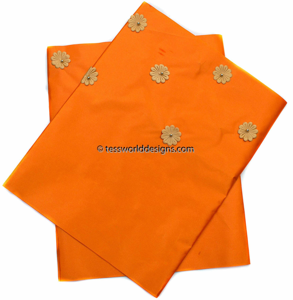GE13 - Orange Gele head wraps set - Tess World Designs, LLC