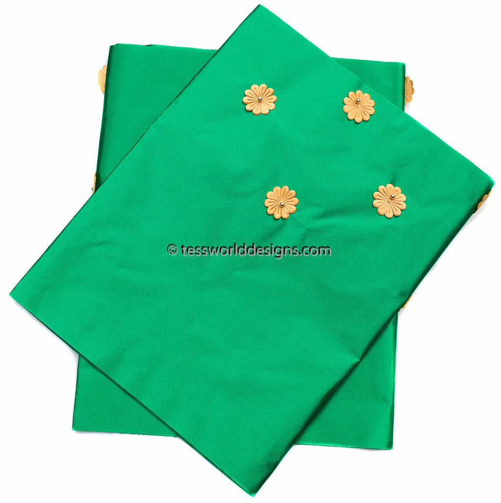 GE18 - Green Gele head wraps set - Tess World Designs, LLC