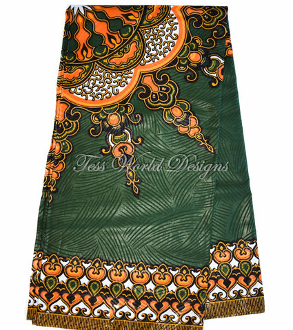 Green/orange  Dashiki Fabric - Star Large design 6 yards DS94