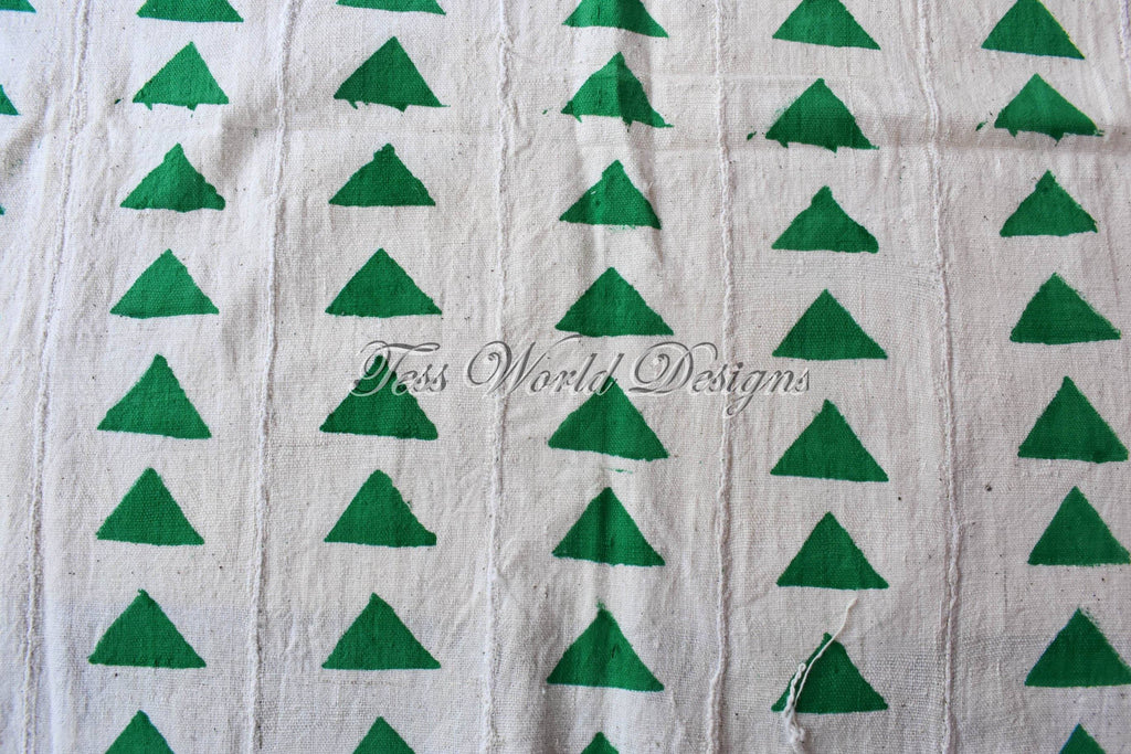 Authentic Mali mud cloth Fabric, Green triangles, MC218 - Tess World Designs, LLC