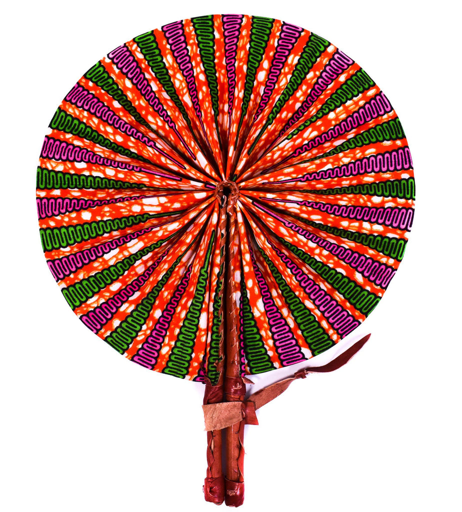 African fabric fan, akpene  AC49 - Tess World Designs, LLC
