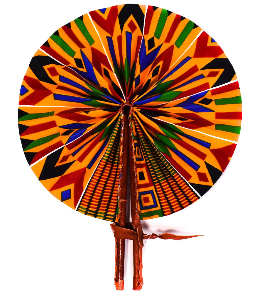 Made in Africa/ Efia Ankara fabric fan/ Fabric fan/ African Fabric fan/ Ankara fan/ Fabric, leather fan/ accessories - AC52