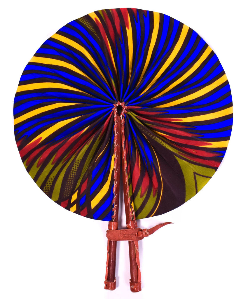 Made in Africa/ African Fabric fan/ Ankara fabric fan/ Fabric fan/ Ankara fan/ Fabric, leather fan/ Isabis AC54