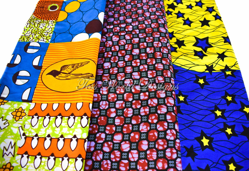 African fabric/ 3 half yard bundle/ WB176 - Tess World Designs, LLC