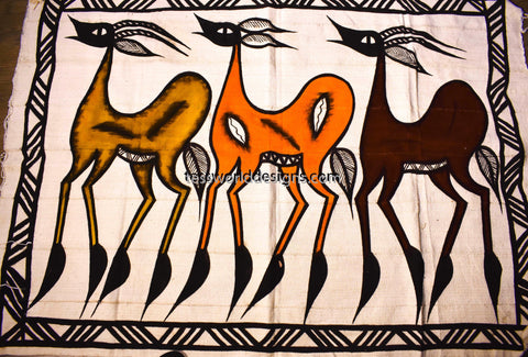 Handcrafted picture Mudcloth fabric from Mali, anthelope MC216