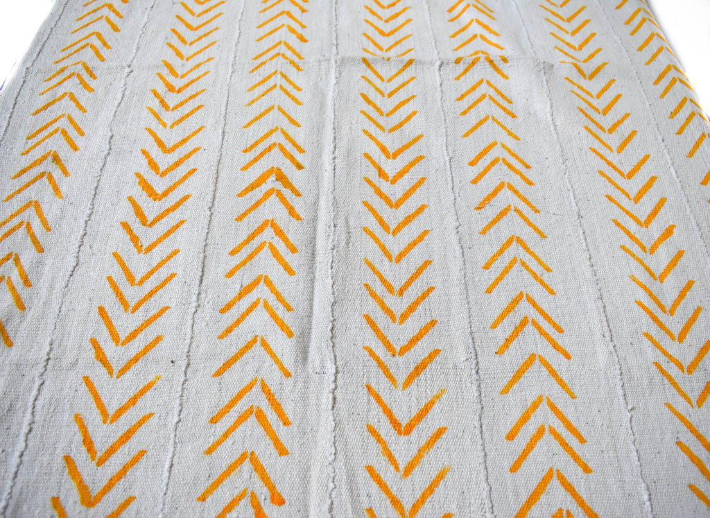 Authentic Mali mud cloth Fabric, yellow herringbone, MC243 - Tess World Designs, LLC