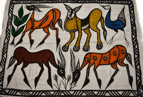 Handcrafted picture Mudcloth fabric from Mali, antelope MC216