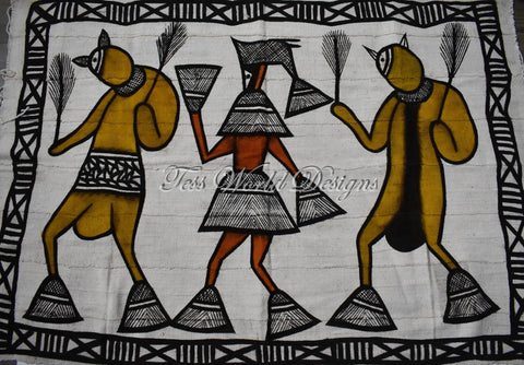 Handcrafted picture Mudcloth fabric from Mali, dogon MC244