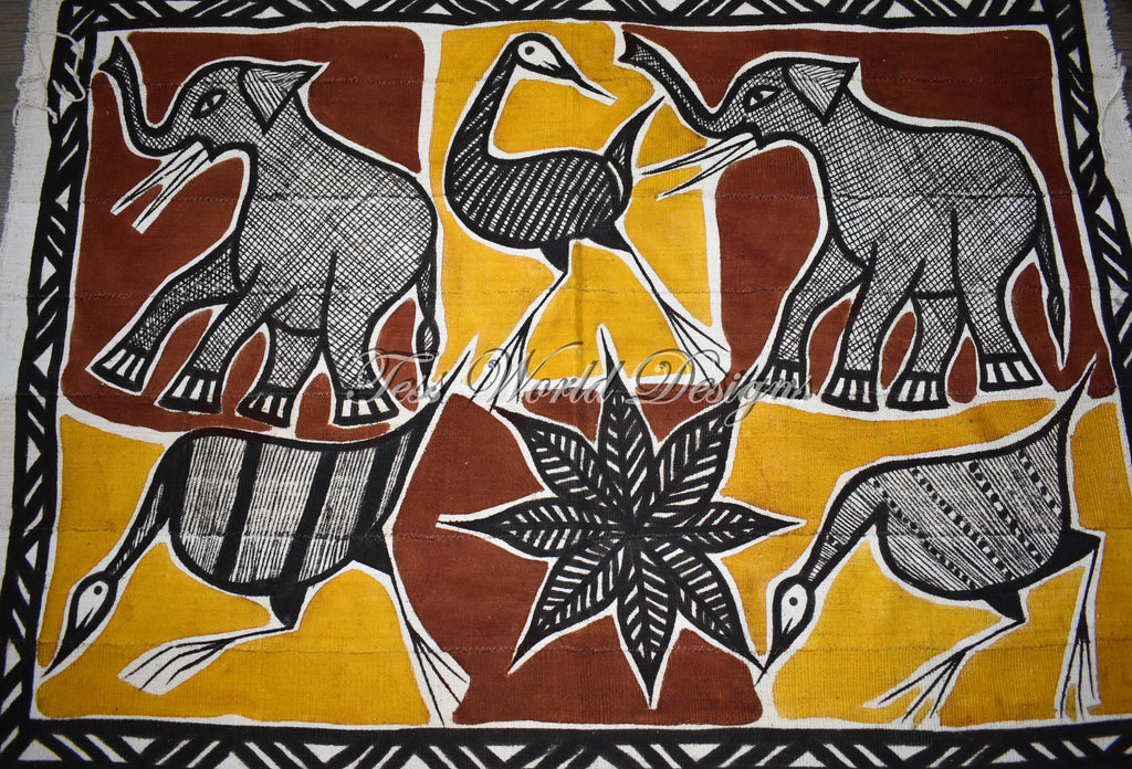 Handcrafted picture Mudcloth fabric from Mali, golden MC247