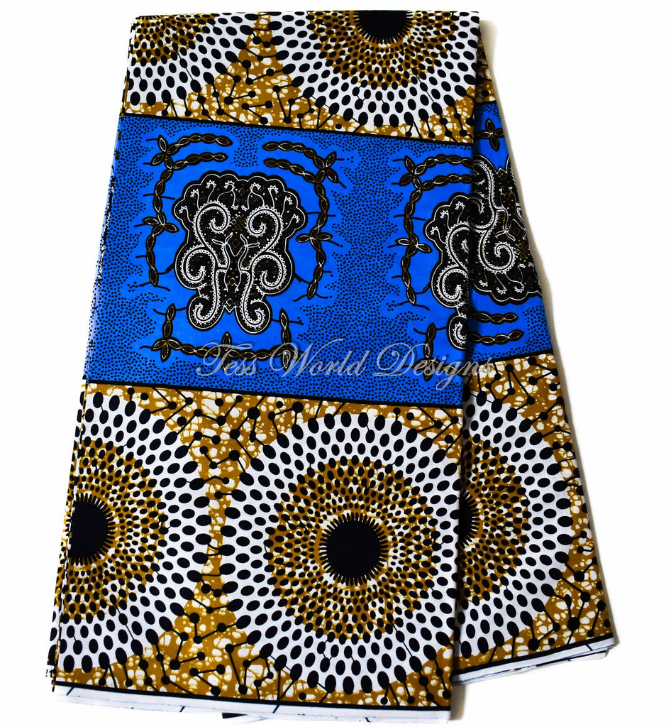 Holland African fabric, blue turtle back 6 yards WP1159