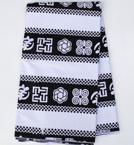 WP1050- African Fabric- Black and white adinkra print , 6 yards