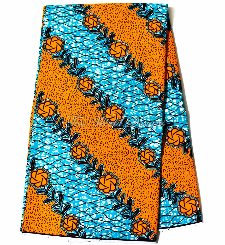 Holland African fabric teal and orange poppy 6 yards WP1162