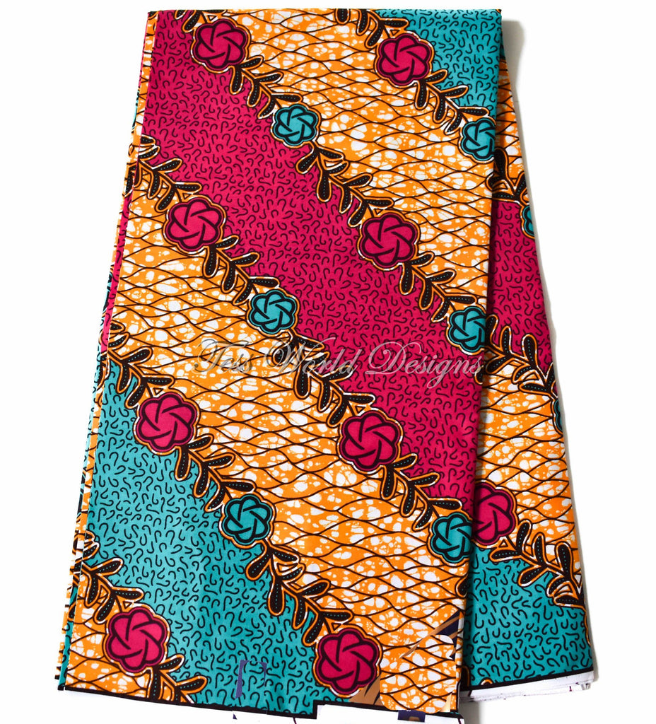 Holland African fabric, fuchsia and teal poppy 6 yards WP1161