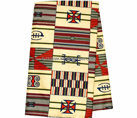 KF218 - Cream adinkra symbol Kente Fabric,  6 yards - Tess World Designs