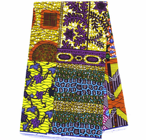 African fabric by the yard, patchwork WP1057B