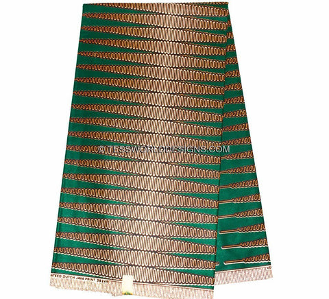 HW37 - Authentic Green Nkrumah Pencil Vlisco Holland Wax 6 yards - Tess World Designs