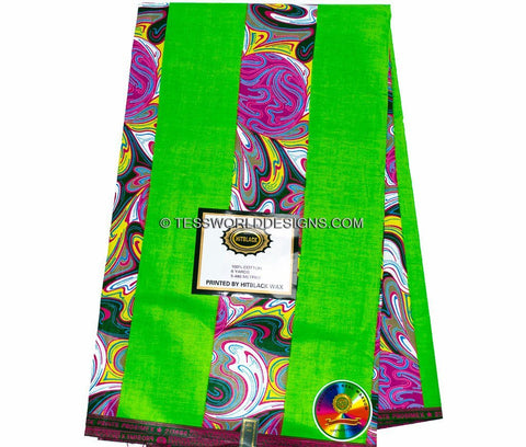 WP744 - Green Factory patchwork African Print Fabric- , 6 yards - Tess World Designs  - 1