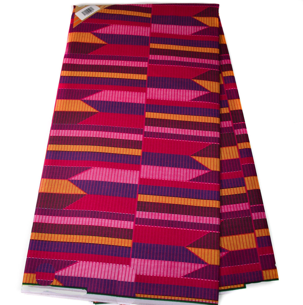 Pink Kente Fabric by the yard  KF338B