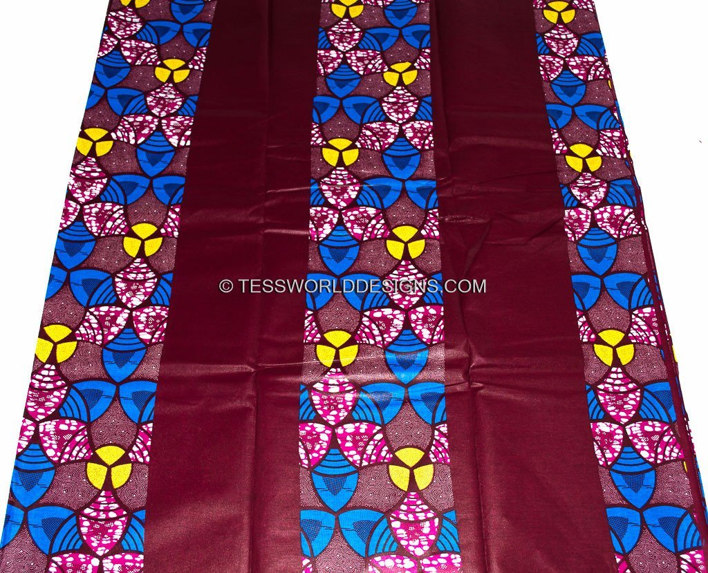 WP745 - Burgundy Factory patchwork African Print Fabric- , 6 yards - Tess World Designs  - 2