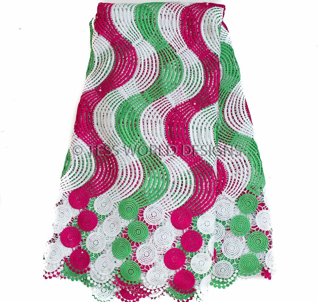 GL29 - Pink, green and White Guipure Cord Lace with stones 5 yards - Tess World Designs