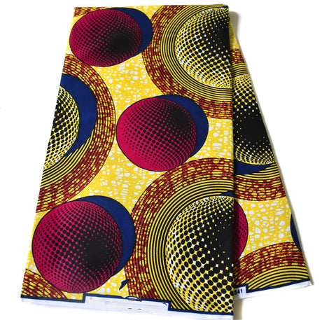 Yellow African fabric, solaria 6 yards WP1182