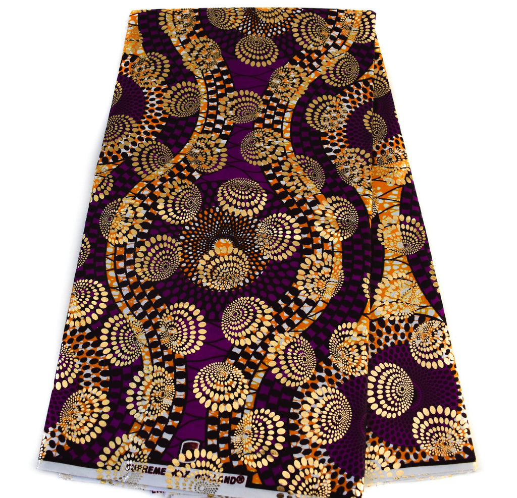 Purple African Fabric per yard, Metallic Holland - OM3B