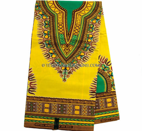 DS39 - Yellow Dashiki Fabric short design - 6 yards - Tess World Designs  - 1