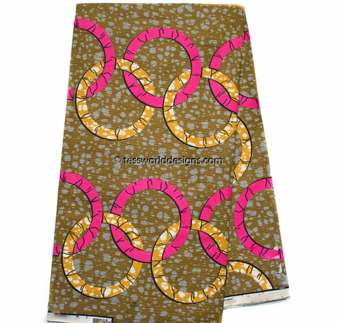 WP1003 - African Fabrics , fuchsia, olive green rings, 6 yards
