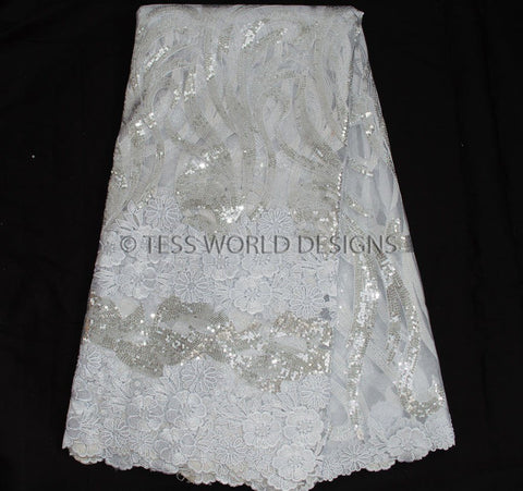 NL35 - Net Lace fabric, white with Sequins  5 yards - Tess World Designs  - 1