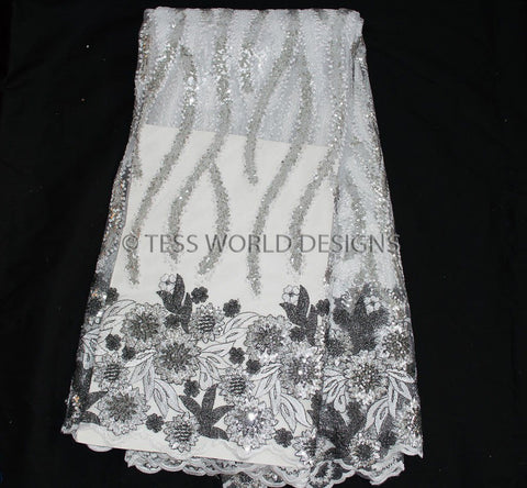 NL34 - Net Lace fabric, black and white with Sequins  5 yards - Tess World Designs  - 1