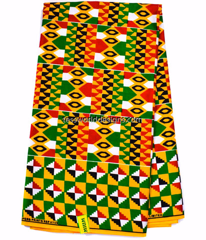 African fabric by the yard/ Made in Ghana/ Ghana Kente cloth/  KF324B